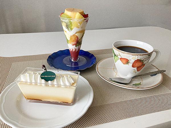 江戸川区西葛西の『フォーシーズンズカフェ』のプリンアラモード(プリンパフェ)とイタリアンプリン