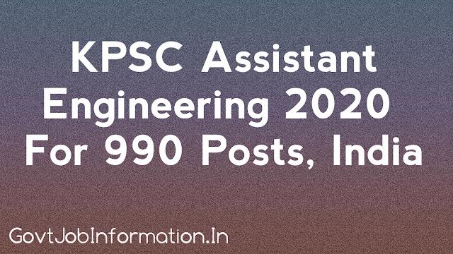 KPSC Assistant Engineer Recruitment (2020-21) Apply Online 990 Posts