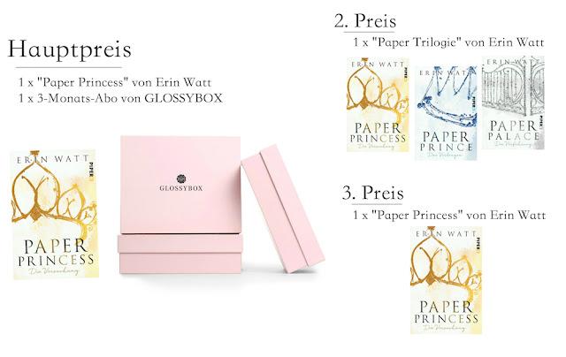 Hauptpreis: 1x Paper Princess, 1x 3-Monatsabo von GLOSSYBOX. 2. Preis: die gesamte Royal-Trilogie. 3. Preis: 1x Paper Princess