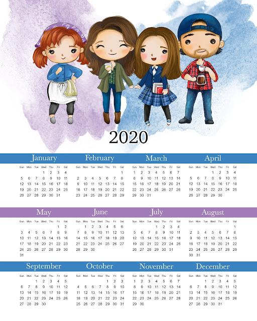 Las Chicas Gilmore: Calendario 2020 para Imprimir Gratis.