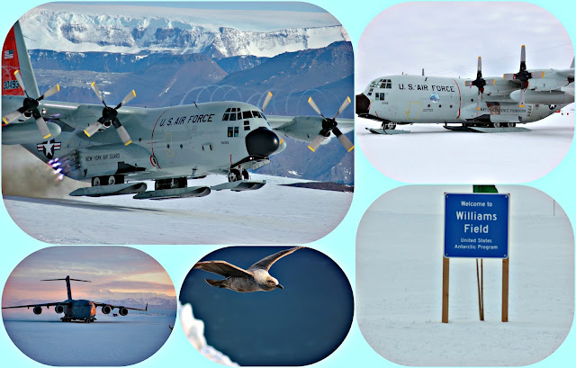 Taking flight at Willie Field on Ross Island in Antarctica from C-130's to Skua Birds