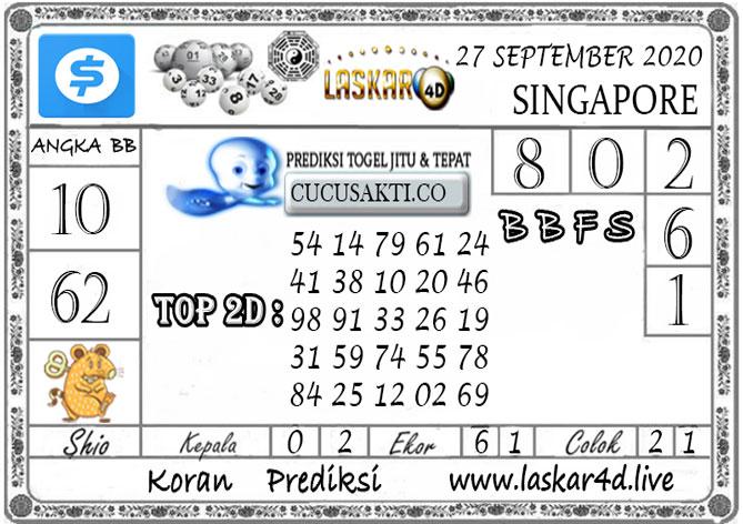 Prediksi Togel SINGAPORE LASKAR4D 27 SEPTEMBER 2020