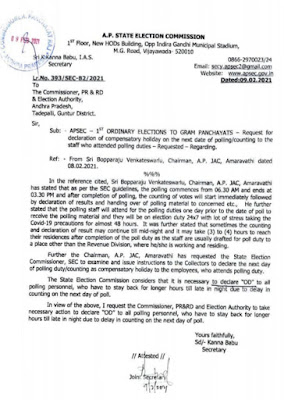 APSEC – 1st Ordinary Elections to Gram Panchayats – Request for declaration of compensatory holiday on the next date of polling/counting to the staff who attended polling duties – Requested -Regarding.
