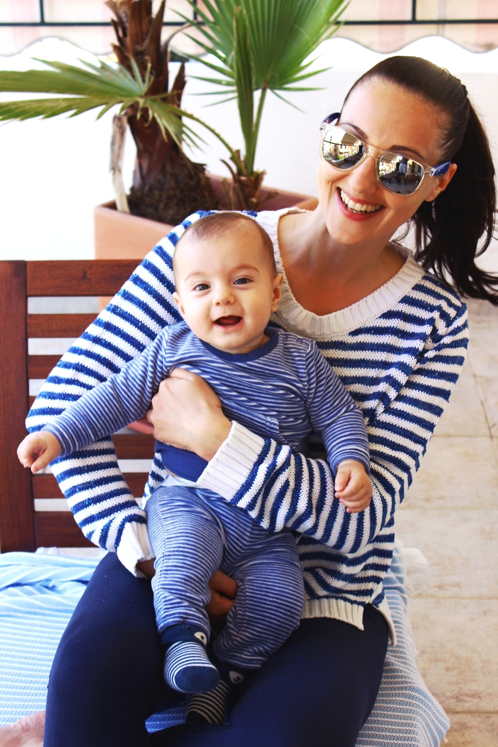 white blue striped velvet baby set, mother and baby fashion, mama i beba stil/moda