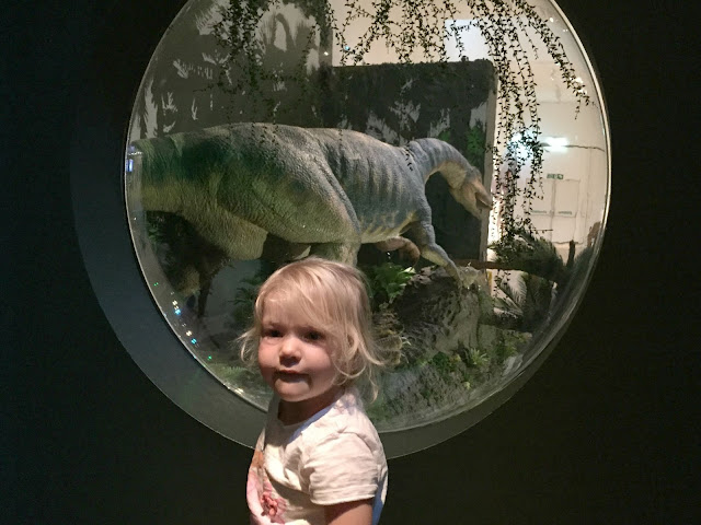 Tin Box Tot standing in front of a round window looking out over the exhibition