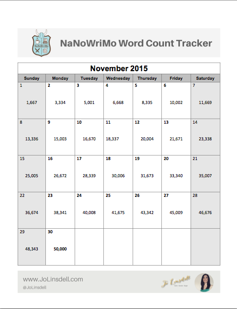 FREE Download: #NaNoWriMo Word Count Tracker #NaNoPrep