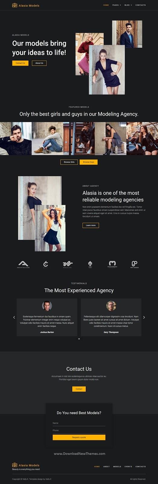 Best Model Agency Website Template