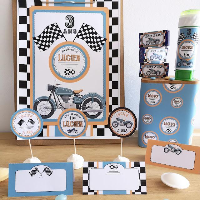 Kit anniversaire personnalisé thème moto garçon à imprimer tête de coucou organisation fête cadeaux invités buffet