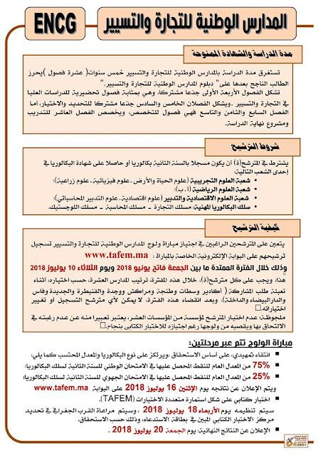 مباراة ولوج المدارس الوطنية للتجارة والتسيير 2018-2019