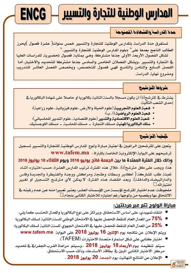 مباراة ولوج المدارس الوطنية للتجارة والتسيير Inscription ENCG 2018-2019