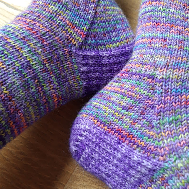 Close up of helical stripes on a pair of socks