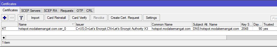 Import Let's Encrypt SSL Certificates ke MikroTik