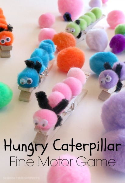 Strenghthen fine motor skills with this fun Hungry Caterpillar Game! Add in colors and counting, too!  Love this!
