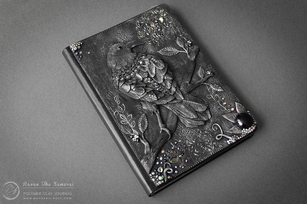 20-The-Crow-Aniko-Kolesnikova-Polymer-Clay-Book-Diary-and-Electronics-Cover-www-designstack-co
