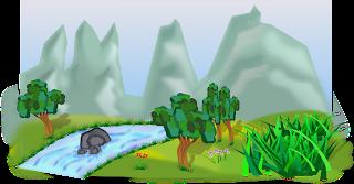 paisaje de montaña con arboles y rio vectorizado