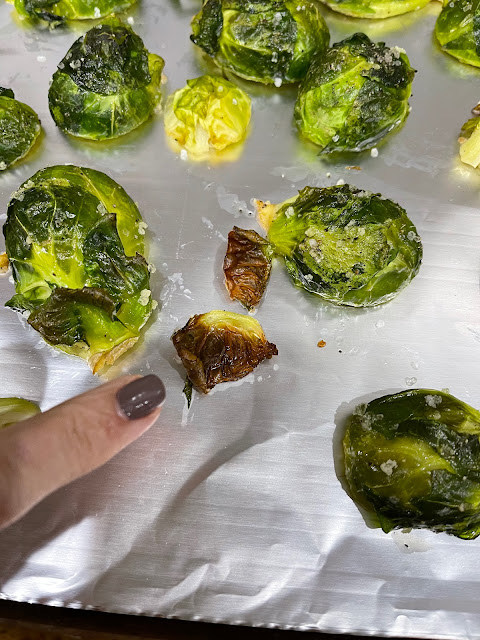 baking sheet of roasted Brussels sprouts