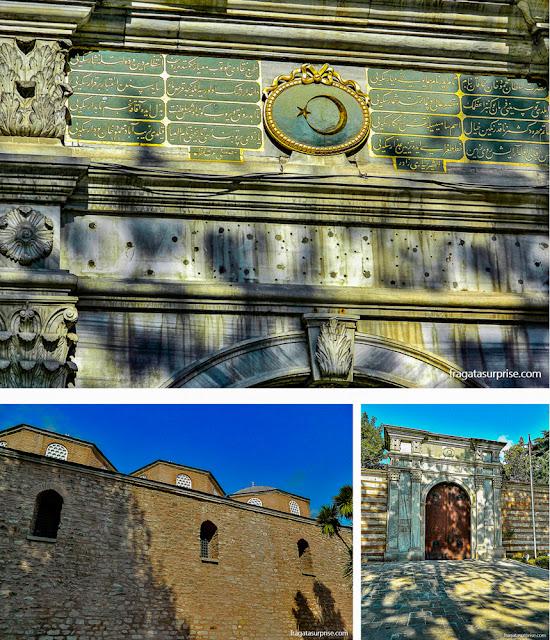 Muralhas e detalhes do portal de entrada para visitantes do Palácio de Topkápi, em istambul