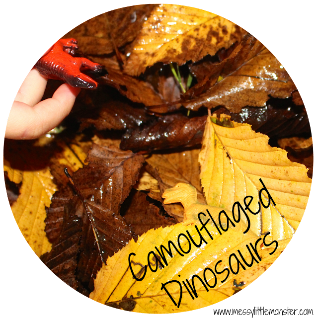Camouflaged dinosaurs in autumn leaves learning activity for toddlers and preschoolers.