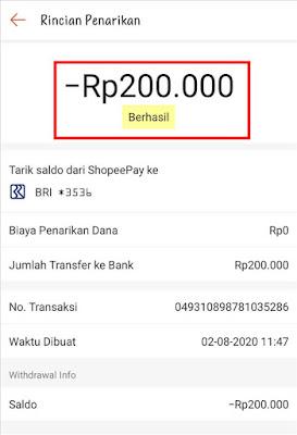 Transfer Shopeepay ke Rekening Bank Berhasil