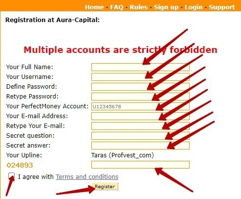 Регистрация в Aura-Capital 2