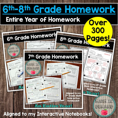6th-8th Grade Homework Bundle