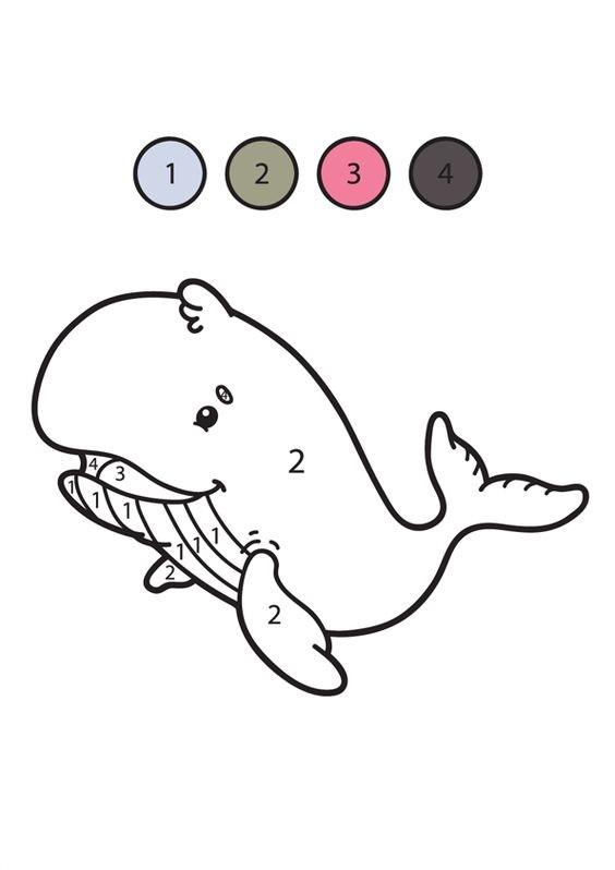 Hình tô màu con cá voi theo số