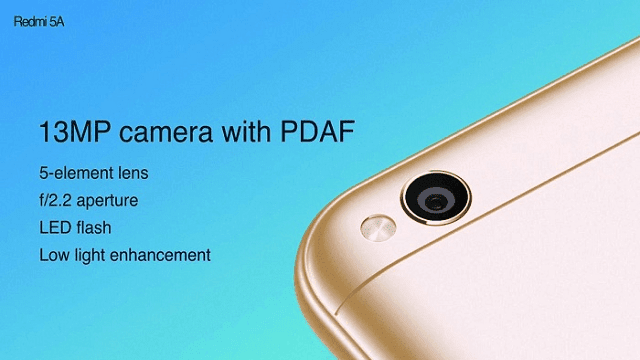 Redmi 5A dilengkapi kamera 13MP dengan LED flash