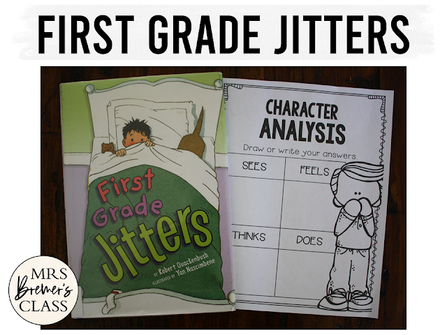 First Grade Jitters book study activities with Common Core aligned literacy companion activities, a class book, and craftivity for Kindergarten and First Grade