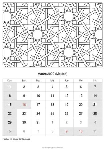 Calendario febrero 2020 con flores de méxico
