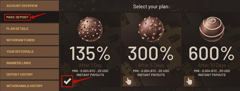 Создание депозита в ChocoBit