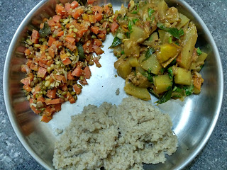 Little millet rice, Bottle gourd curry, Carrot Green gram sprouts