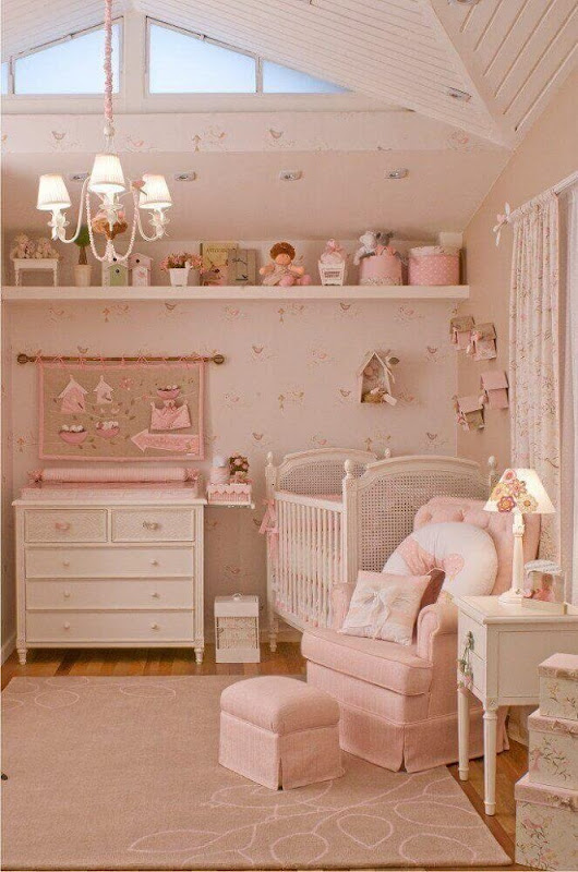 Pink baby's room decoration