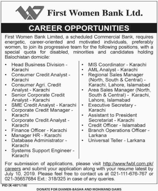 First Women Bank Ltd Jobs 2019-Apply Online