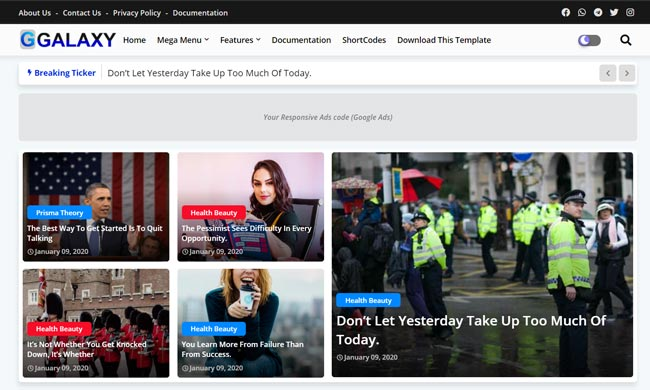 10+ Best Blogger Templates with One-Click Dark mode and Mega Menu in Free version