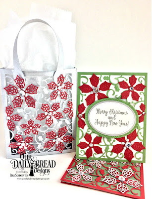 Stamp Set: Holly Leaves, Custom Dies: Card Caddy & Gift Bag,  Peaceful Poinsettias, Ovals, Pierced Ovals, Oval Stitched Rows, Poinsettia Inset, Merry Mosaics, Paper Collection: Christmas 2017