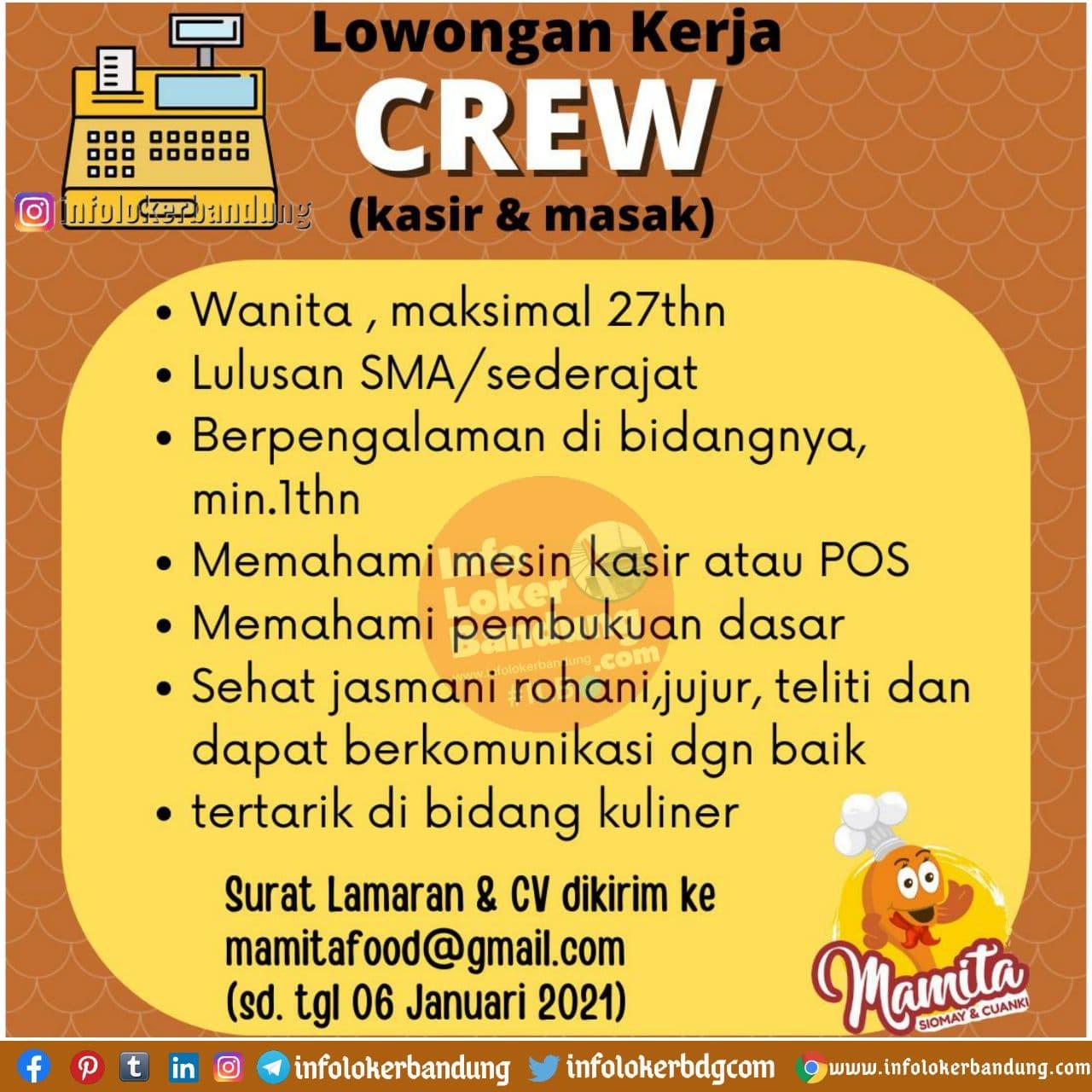 Lowongan Kerja Crew Mamita Food Bandung Januari 2021