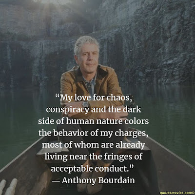 Anthony Bourdain quote about chaos