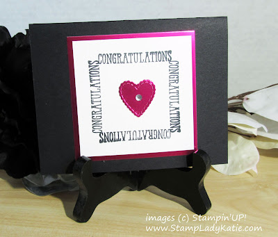Wedding card made with sentiments from Stampin'UP's Well Said stamp set and Be Mine stitched Framelits. . The word creates a frame around a die cut heart byStampLadyKatie
