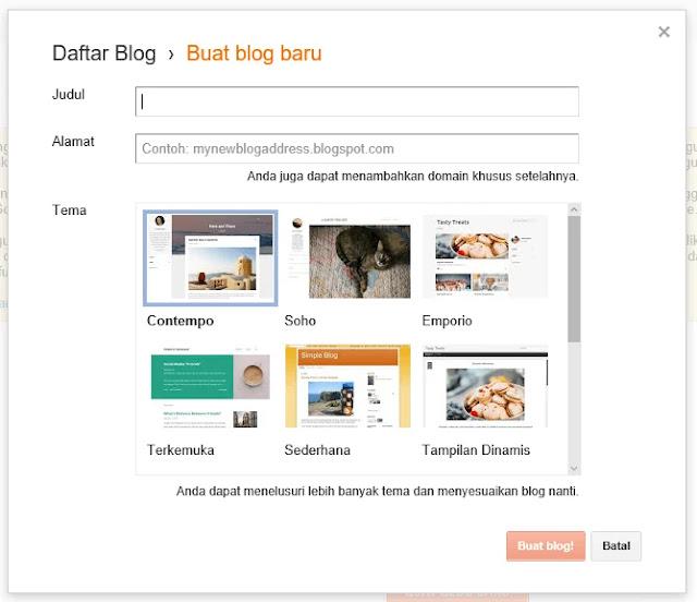Langkah membuat blogspot dengan mengkonfirmasi judul blog, url blog dan tema