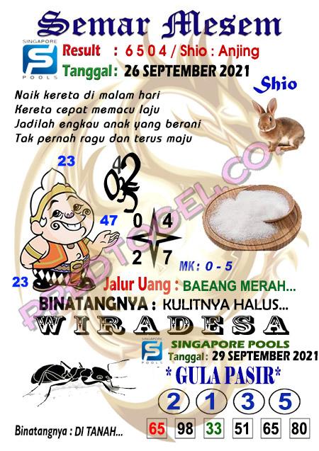 Syair Semar Mesem SGP Sabtu 25 September 2021