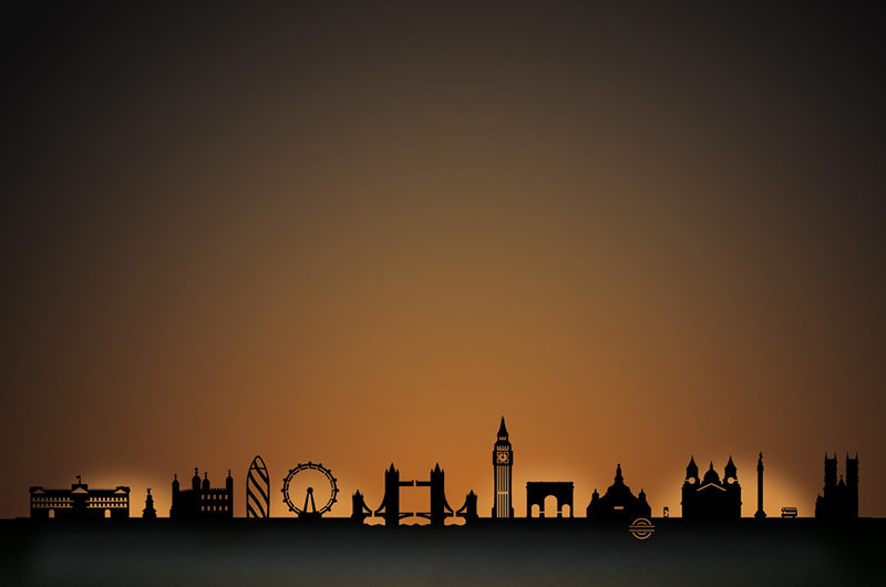 London city skyline candle holder