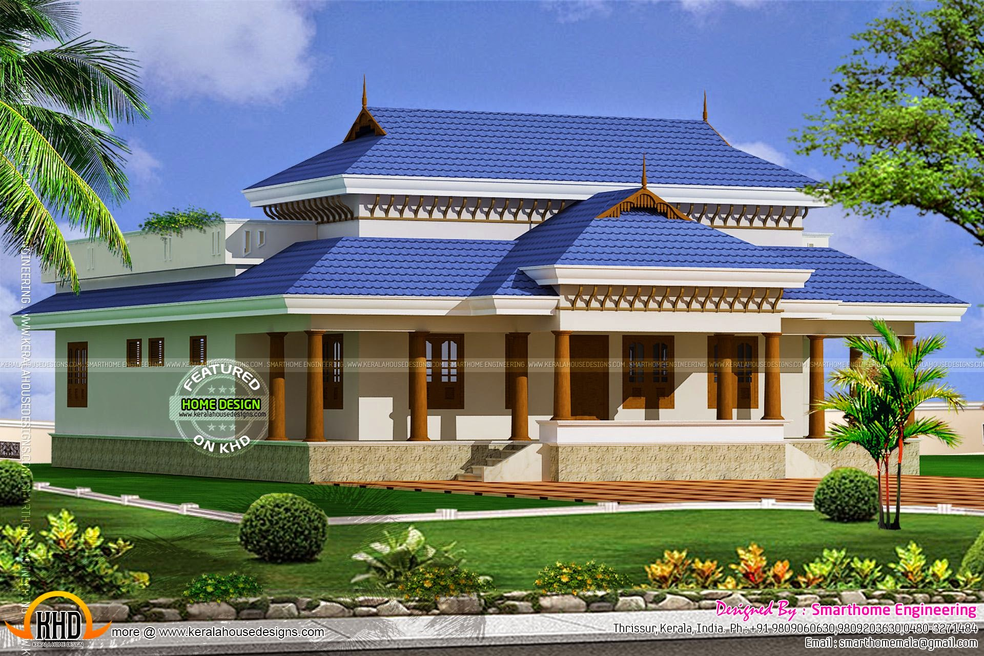 Kerala model traditional house kerala home design and for Kerala model home plans with photos