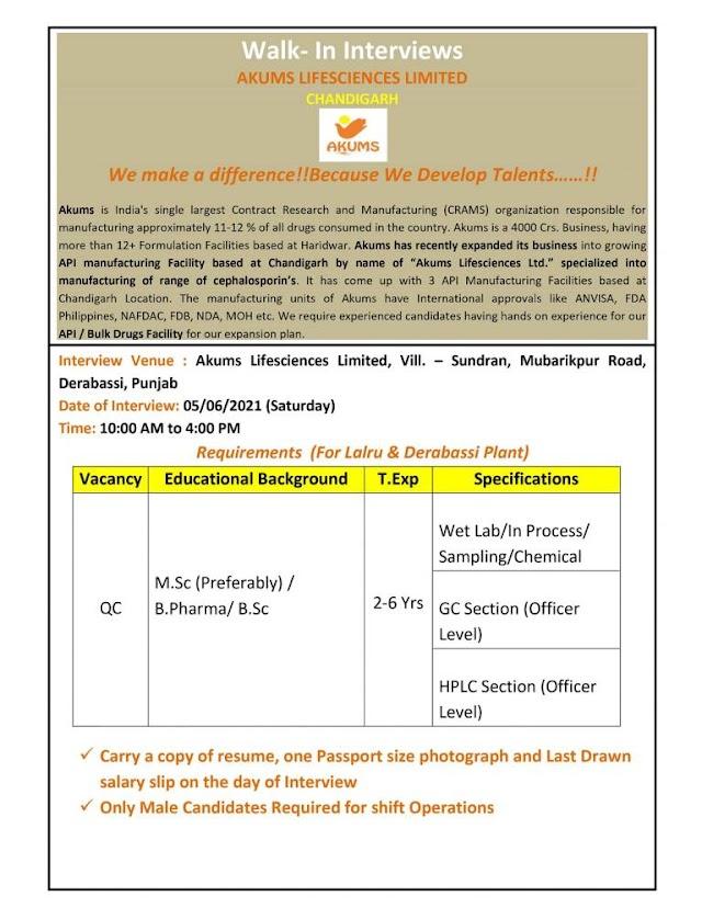 Akums Lifesciences Ltd   Walk-In Interviews – QC on 05.06.21(Saturday) at Derabassi