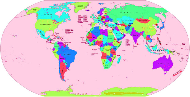 Labeled Map Of world