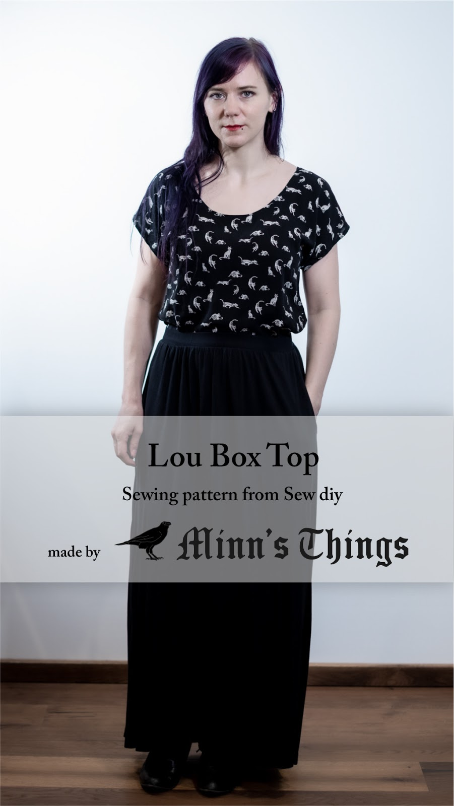 modified sew diy lou box top sewing pattern cats woven blouse fabric minn's things pinterest