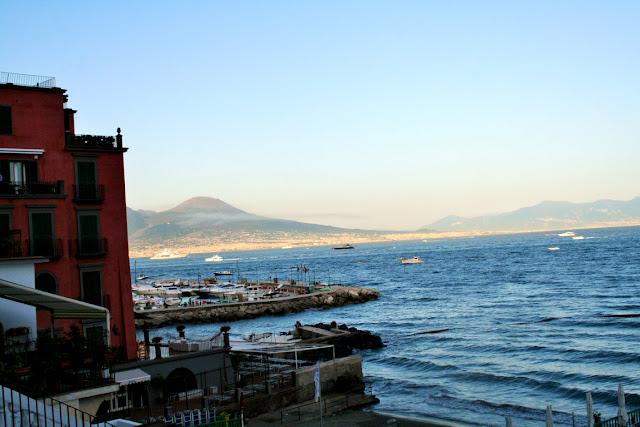 mare, acqua, scogli, lido, palazzo, cielo, Vesuvio, monti, vista