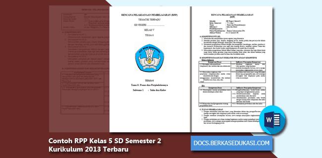 Contoh RPP Kelas 5 SD Semester 2 Kurikulum 2013 Tahun 2019-2020