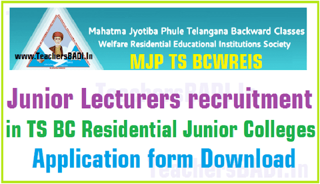 MJP TS BCWREIS,Junior Lecturers recruitment,BC RJCs Application form