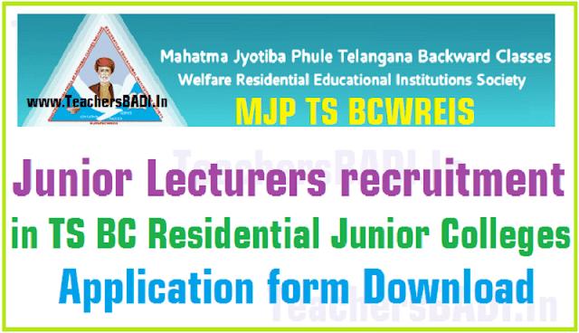 MJP TS BCWREIS,Junior Lecturers recruitment,BC RJCs Application form
