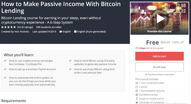 [100% Off] How to Make Passive Income With Bitcoin Lending| Worth 59,99$
